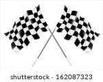 two crossed checkered flags. | Shutterstock . vector #162087323