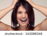 portrait of screaming girls... | Shutterstock . vector #162088268