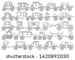 Vintage Carriage Vector Outlin...
