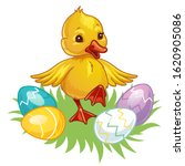 Cute Little Duck With Easter...