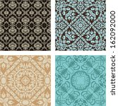 4 Retro different vector seamless patterns  - stock vector