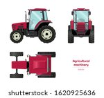 Isolated Tractor. Side  Front...