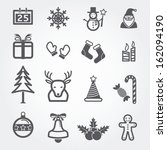 christmas icons isolated on... | Shutterstock .eps vector #162094190
