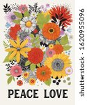 peace love. graphic floral... | Shutterstock .eps vector #1620955096