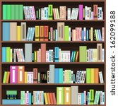bookcase with colorful books in ... | Shutterstock .eps vector #162099188