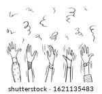 drawn hands and confetti or... | Shutterstock .eps vector #1621135483