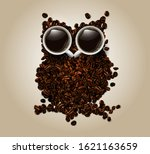 an owl of coffee beans  and two ... | Shutterstock .eps vector #1621163659