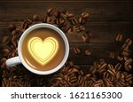 grains of coffee are scattered... | Shutterstock .eps vector #1621165300