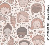 cute cartoon boys and girls... | Shutterstock .eps vector #162138623