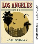 Los Angeles city from California in vintage style poster, vector illustration