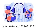 operator wearing headset at... | Shutterstock .eps vector #1621431193