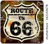 retro route sixty six road sign | Shutterstock .eps vector #162143678