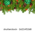 christmas background with balls ... | Shutterstock . vector #162145268
