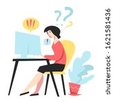 business and office work stress ... | Shutterstock .eps vector #1621581436