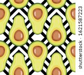 seamless pattern with avocado... | Shutterstock .eps vector #1621587223