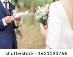 Bride And Groom Reading Wedding ...