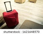 Detail Of Red Suitcase In The...