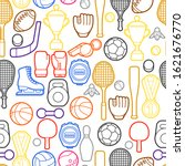 seamless pattern with sport...   Shutterstock .eps vector #1621676770
