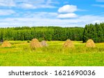Haystacks On Agriculture Farm...