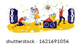young people dancing and... | Shutterstock .eps vector #1621691056