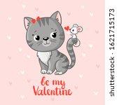 cute gray kitten looking at a...   Shutterstock .eps vector #1621715173