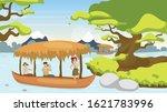 tourist in boat flat vector... | Shutterstock .eps vector #1621783996