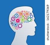 brain gears in the head  human... | Shutterstock .eps vector #162179369
