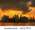 sunset with sky like fire over... | Shutterstock . vector #16217974