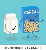 cereal and milk vector...   Shutterstock .eps vector #162182144
