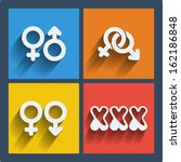 Set of 4 vector web and mobile gender icons in flat design. Symbols of man, woman, male, female, boy, girl, couple, xxx