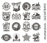 vintage wild west emblems with...   Shutterstock .eps vector #1621878493