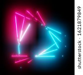 neon light triangles frame on... | Shutterstock . vector #1621879849