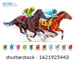 Two racing horses competing with each other. Hippodrome. Racetrack. Derby. Jockey uniform. Isolated on white background. Vector illustration