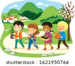 israeli holiday of tu bishvat.... | Shutterstock .eps vector #1621950766