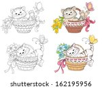 Stock vector cartoon kitty in basket for coloring book vector illustration 162195956