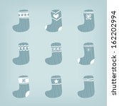 set of christmas warm blue... | Shutterstock .eps vector #162202994