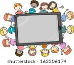 Doodle Illustration of Kids Surrounding a Large Computer Tablet