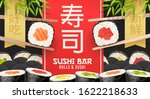 asian food poster. sushi ads.... | Shutterstock .eps vector #1622218633