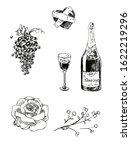 romantic set with flowers ... | Shutterstock . vector #1622219296