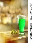 Glass Of Cold Fresh Green Beer...