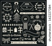 christmas hand drawn vector set ... | Shutterstock .eps vector #162227384