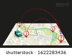 delivery navigation route  city ... | Shutterstock .eps vector #1622283436