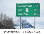A travel sign on the way to packwood