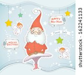 christmas card with dancing... | Shutterstock .eps vector #162241133
