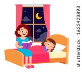 happy mom tell story in bed... | Shutterstock .eps vector #1622423893