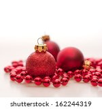 Red Christmas Baubles With...