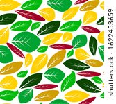 autumn leaves seamless pattern. ... | Shutterstock . vector #1622453659