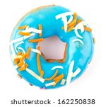 blue donut isolated on white... | Shutterstock . vector #162250838