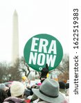 Small photo of WASHINGTON JANUARY 18, 2020: Demonstrators rally in support of women's rights and urge America to vote President Trump out in the 2020 election at the Women's March on January 18, 2020 in Washington