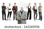 idea concept. lamp head and... | Shutterstock . vector #162260936